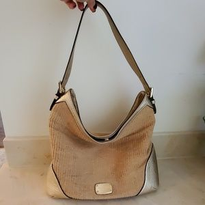 Authentic Michael Kors Gold Metallic & Straw Bag